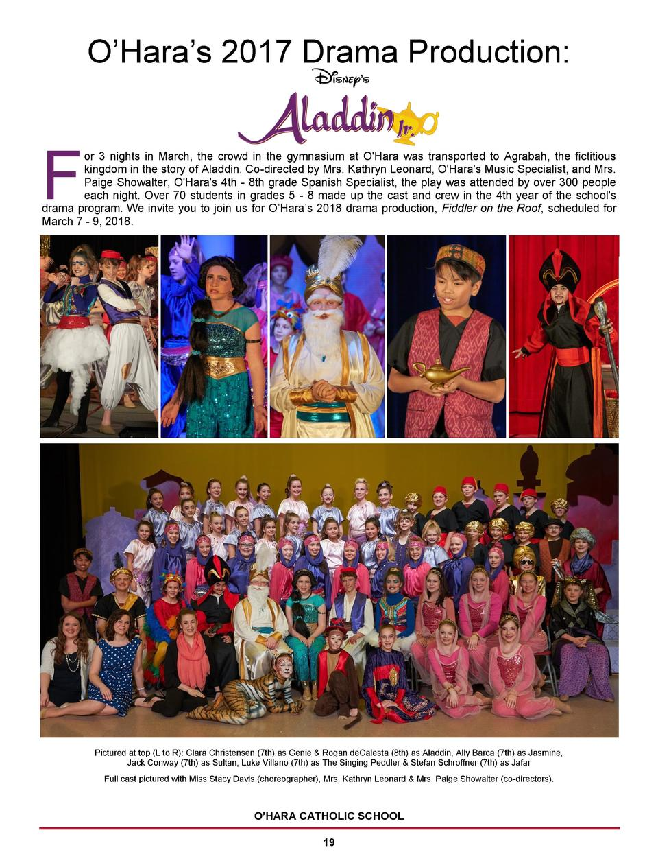 O   Hara   s 2017 Drama Production   F  or 3 nights in March, the crowd in the gymnasium at O Hara was transported to Agra...
