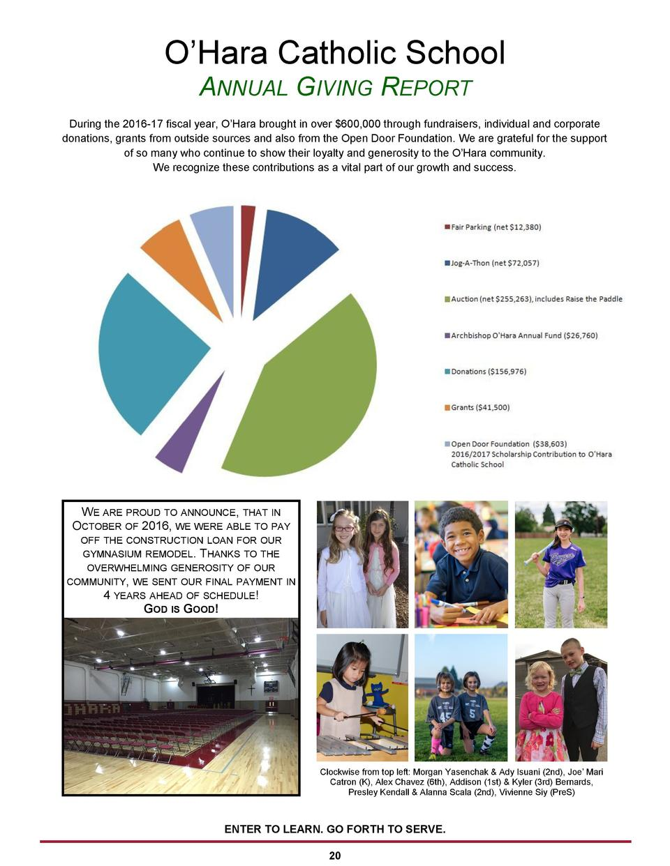 O   Hara Catholic School ANNUAL GIVING REPORT During the 2016-17 fiscal year, O   Hara brought in over  600,000 through fu...