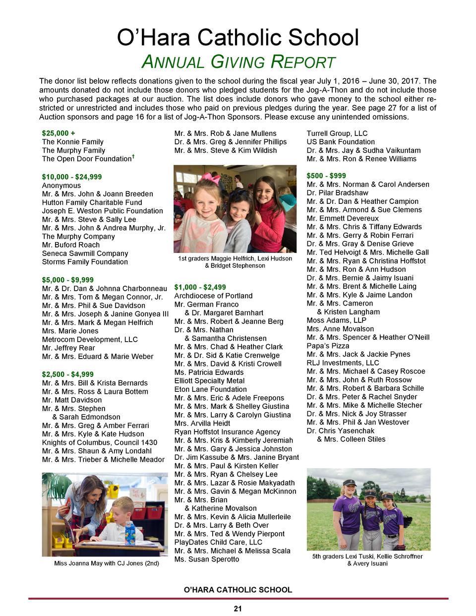 O   Hara Catholic School ANNUAL GIVING REPORT The donor list below reflects donations given to the school during the fisca...