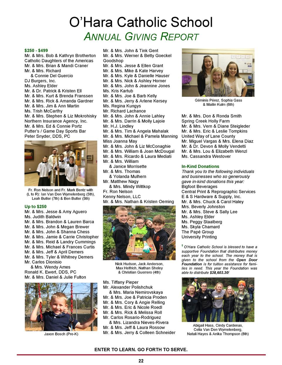 O   Hara Catholic School ANNUAL GIVING REPORT  250 -  499 Mr.   Mrs. Bob   Kathryn Brotherton Catholic Daughters of the Am...