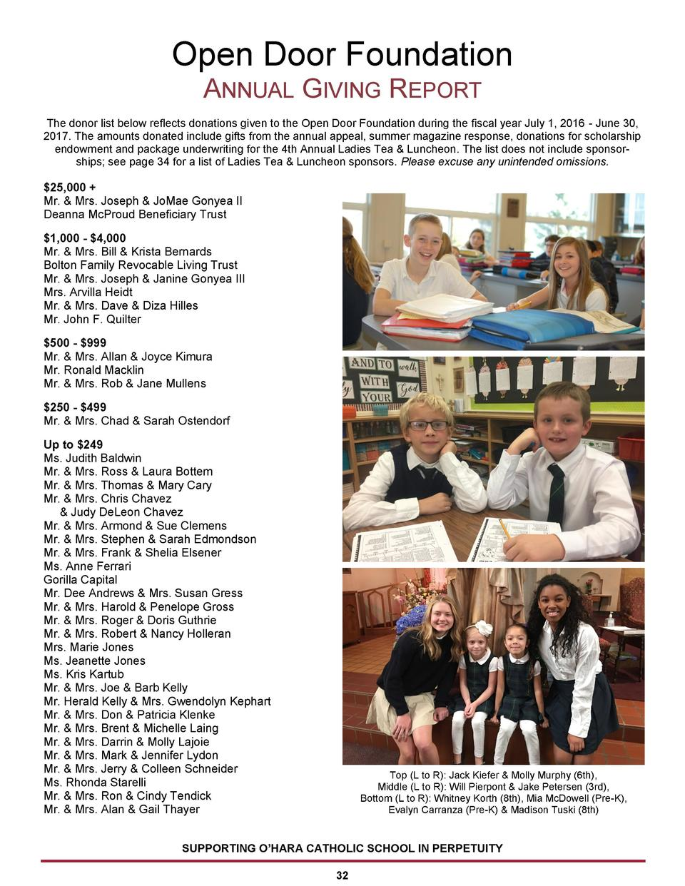 Open Door Foundation ANNUAL GIVING REPORT The donor list below reflects donations given to the Open Door Foundation during...