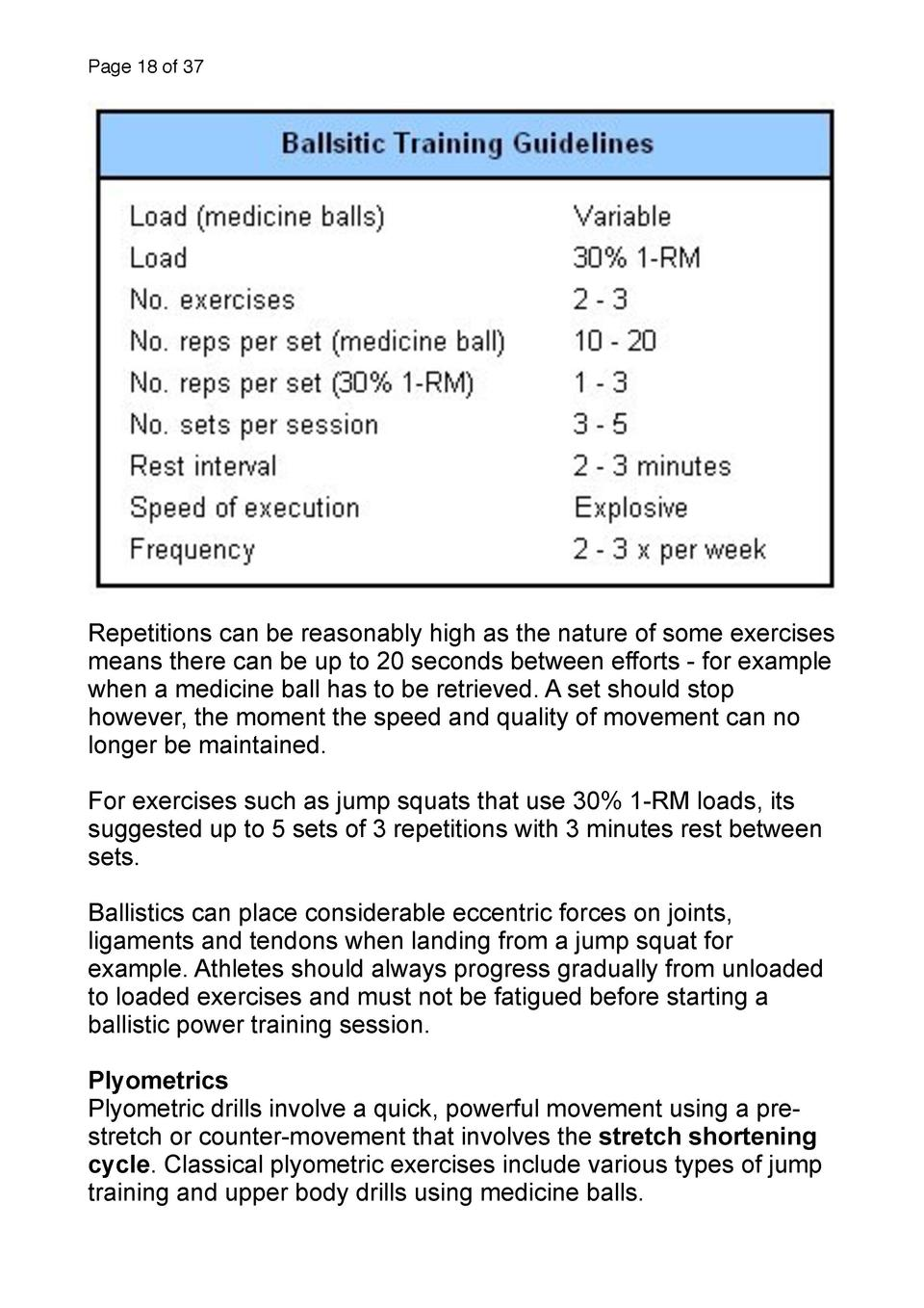Page 18 of 37  Repetitions can be reasonably high as the nature of some exercises means there can be up to 20 seconds betw...