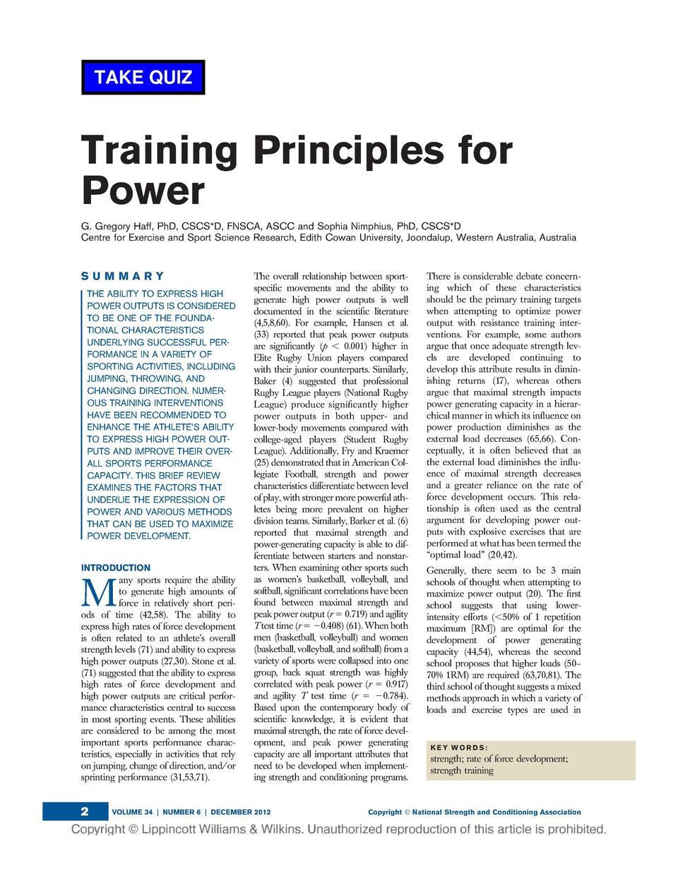 TAKE QUIZ  Training Principles for Power G. Gregory Haff, PhD, CSCS D, FNSCA, ASCC and Sophia Nimphius, PhD, CSCS D Centre...