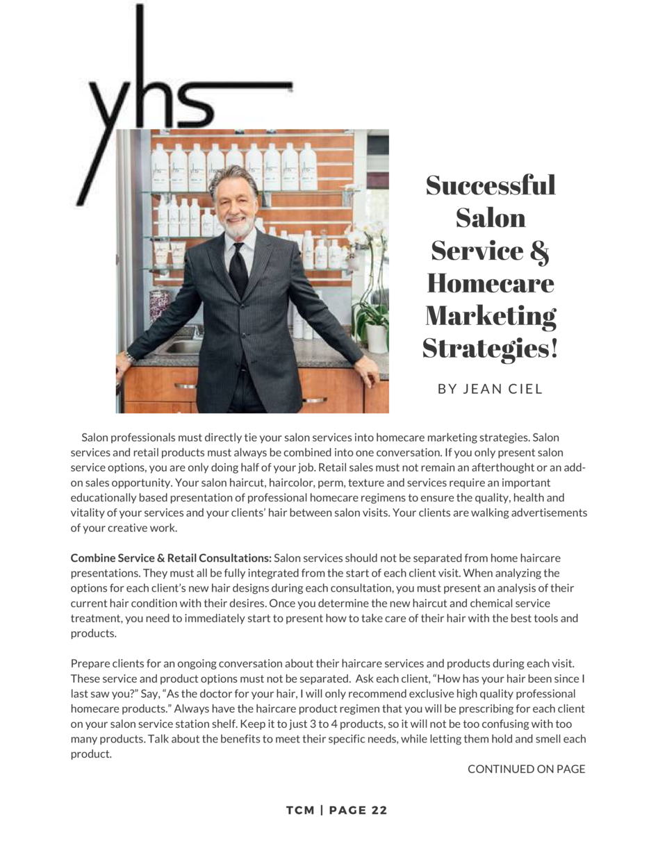 Successful Salon Service   Homecare Marketing Strategies  BY  JEAN CIEL         Salon professionals must directly tie your...