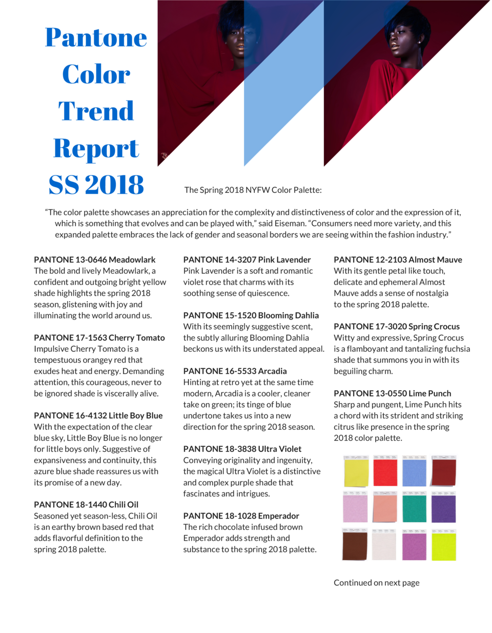 Pantone Color Trend Report SS 2018  The Spring 2018 NYFW Color Palette      The color palette showcases an appreciation fo...