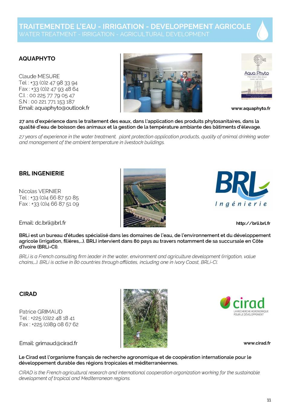 TRAITEMENTDE L   EAU - IRRIGATION - DEVELOPPEMENT AGRICOLE WATER TREATMENT - IRRIGATION - AGRICULTURAL DEVELOPMENT  AQUAPH...