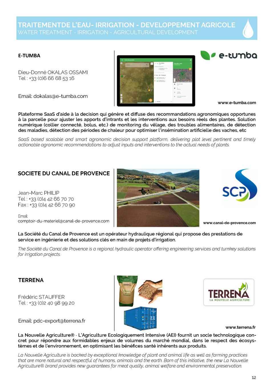 TRAITEMENTDE L   EAU- IRRIGATION - DEVELOPPEMENT AGRICOLE WATER TREATMENT - IRRIGATION - AGRICULTURAL DEVELOPMENT  E   TUM...