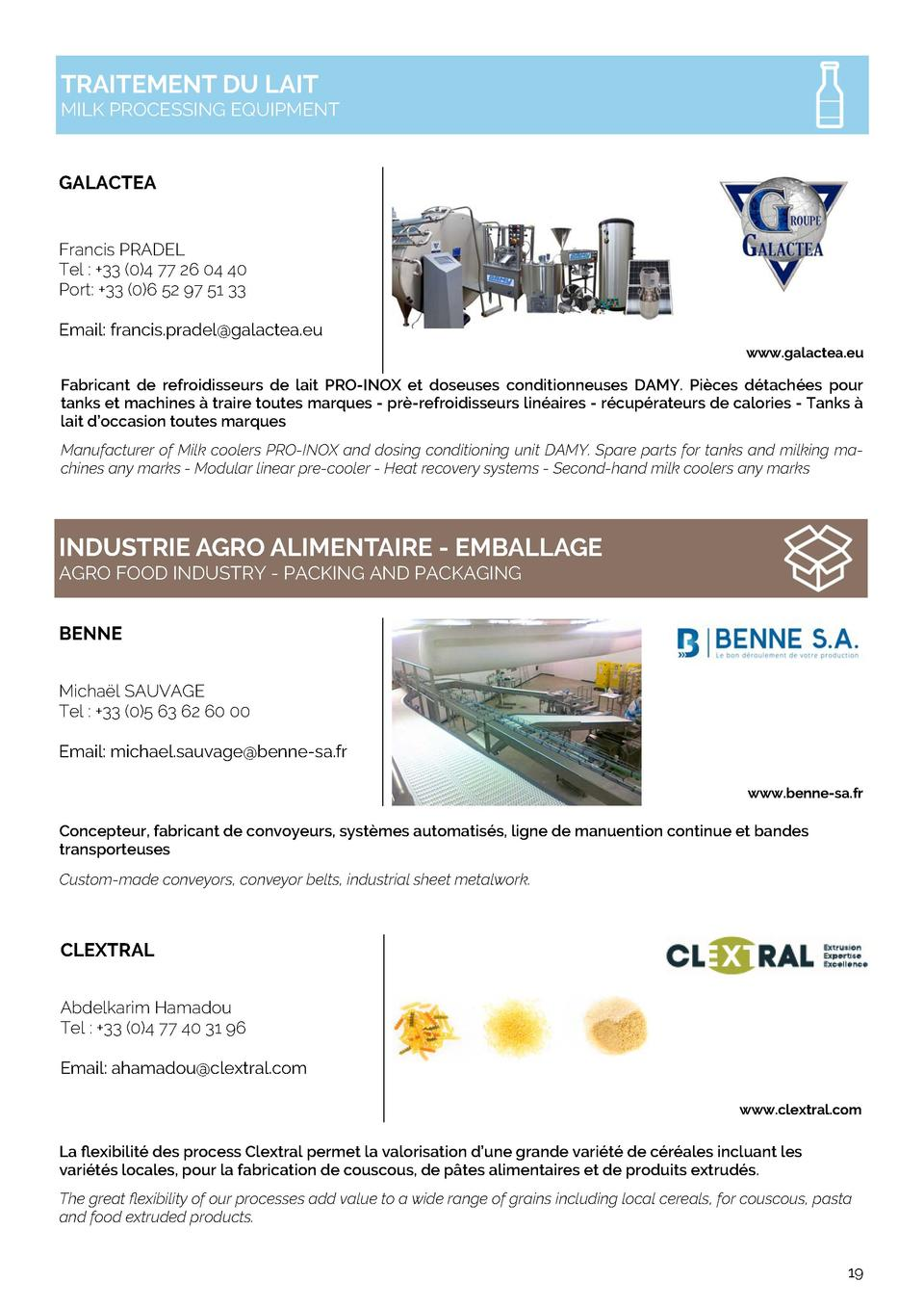 TRAITEMENT DU LAIT  MILK PROCESSING EQUIPMENT  GALACTEA Francis PRADEL Tel    33  0 4 77 26 04 40 Port   33  0 6 52 97 51 ...