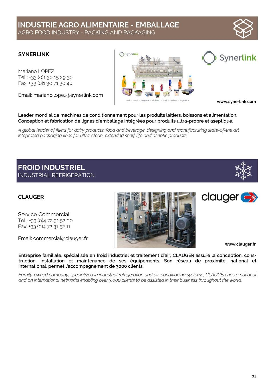 INDUSTRIE AGRO ALIMENTAIRE - EMBALLAGE AGRO FOOD INDUSTRY - PACKING AND PACKAGING  SYNERLINK Mariano LOPEZ Tel    33  0 1 ...