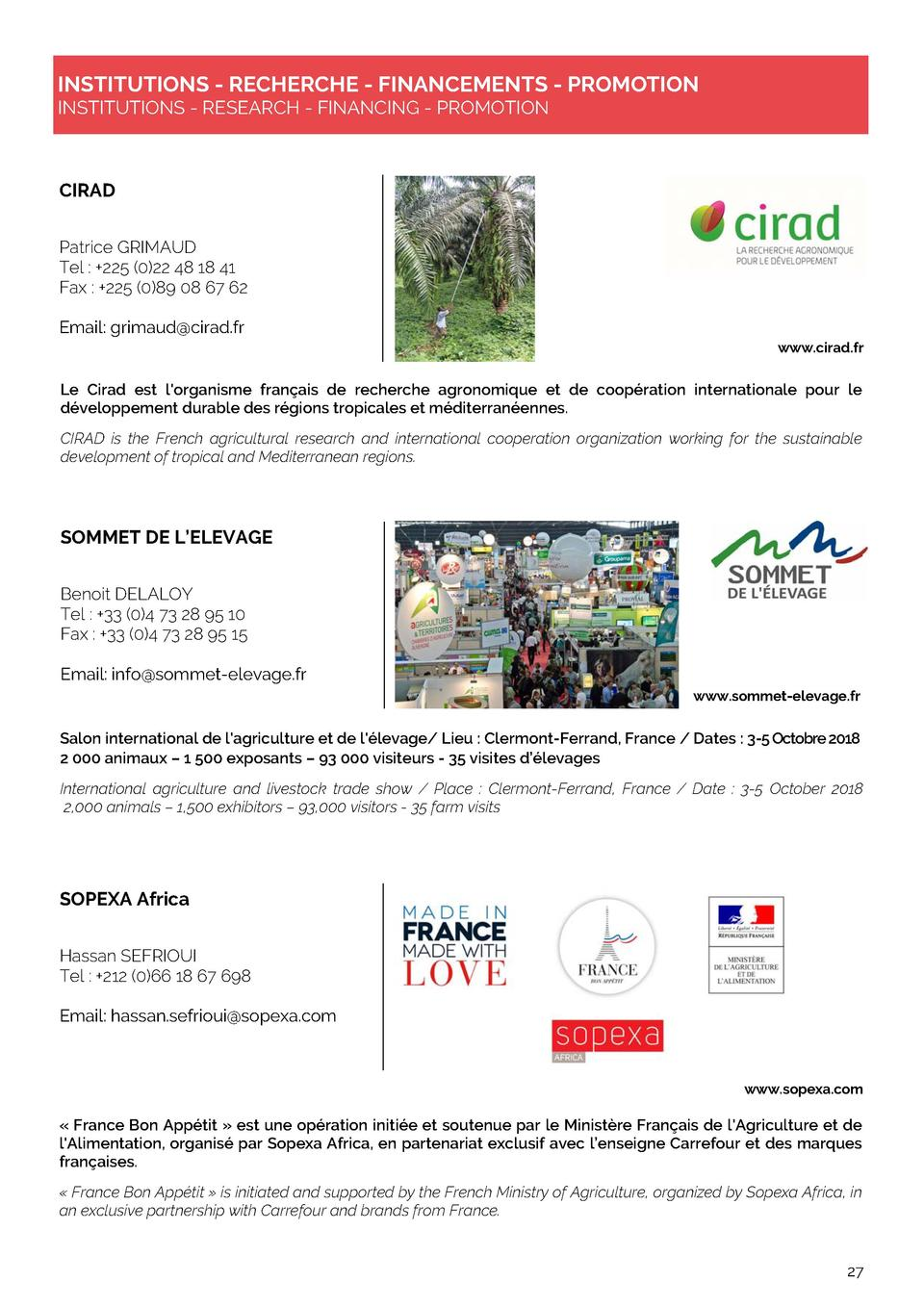 INSTITUTIONS - RECHERCHE - FINANCEMENTS - PROMOTION INSTITUTIONS - RESEARCH - FINANCING - PROMOTION  CIRAD Patrice GRIMAUD...
