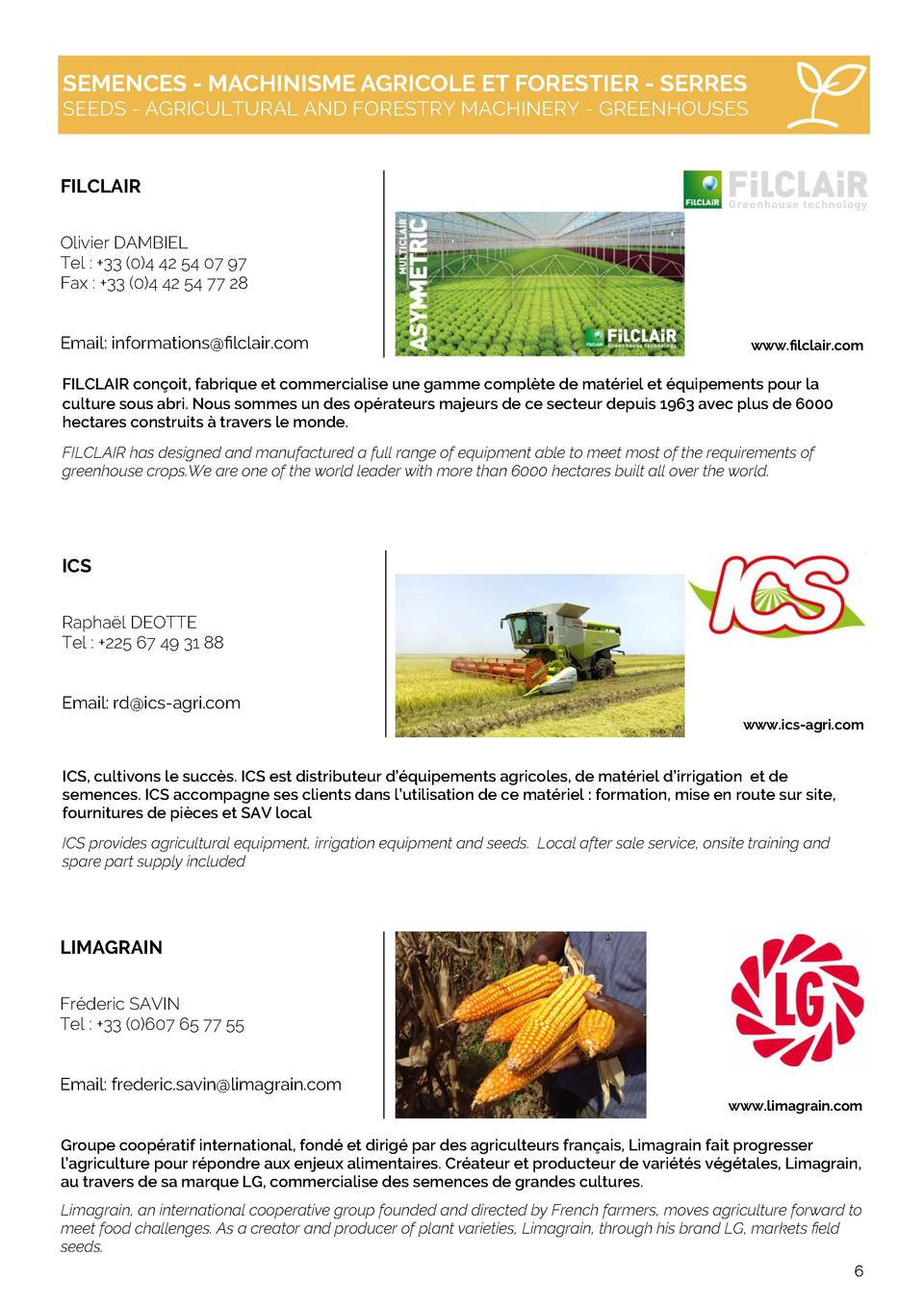 SEMENCES - MACHINISME AGRICOLE ET FORESTIER - SERRES  SEEDS - AGRICULTURAL AND FORESTRY MACHINERY - GREENHOUSES  FILCLAIR ...
