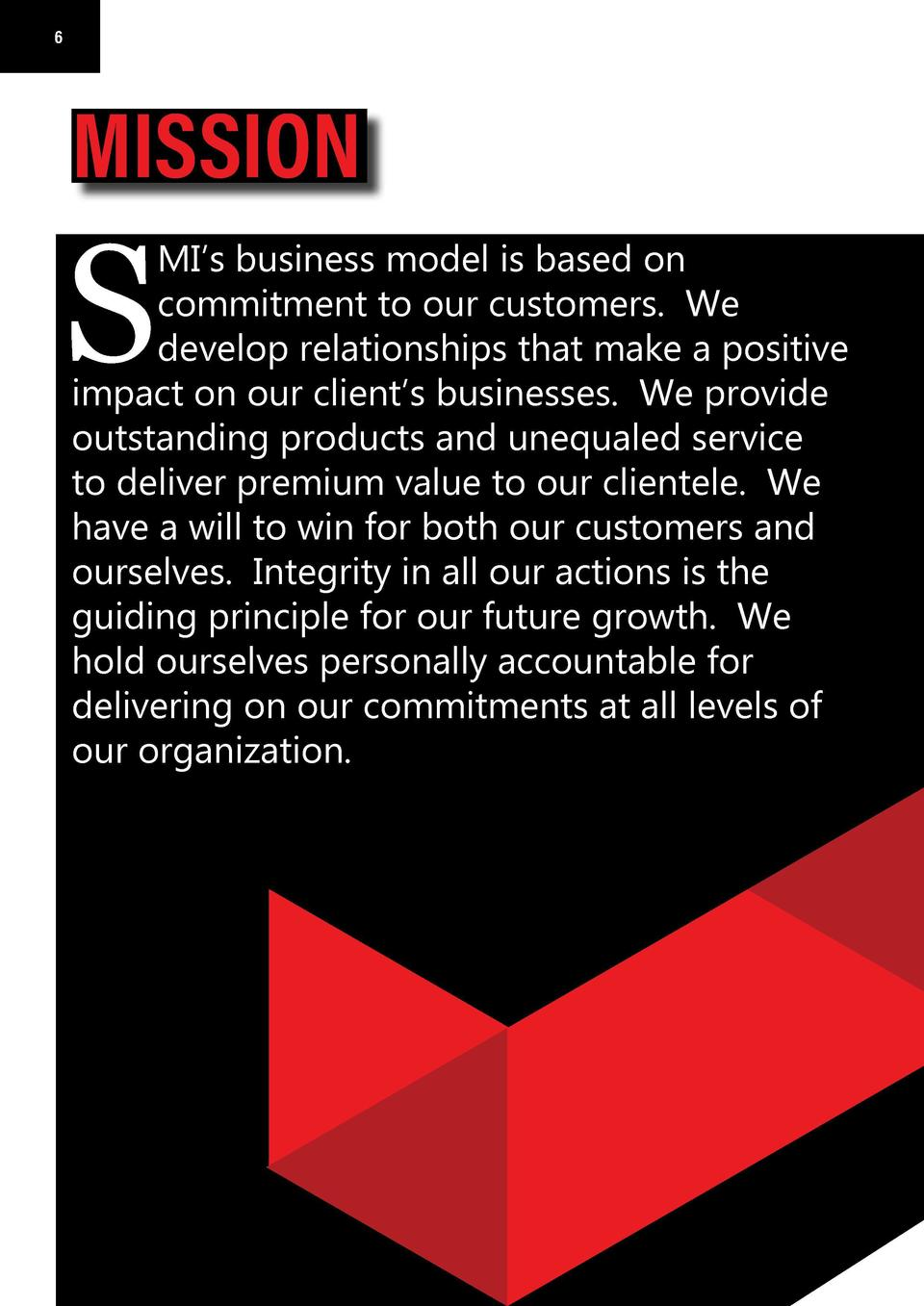 6  6  7  MISSION  VISION  S  S  MI   s business model is based on commitment to our customers. We develop relationships th...