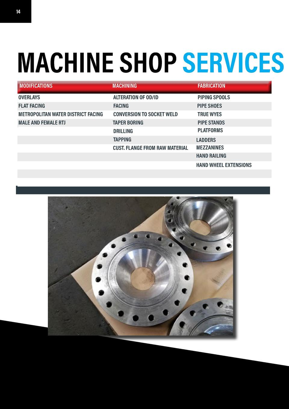 14 14  15  MACHINE SHOP SERVICES MACHINE CAPABILITIES MODIFICATIONS  MACHINING  FABRICATION  OVERLAYS FLAT FACING METROPOL...