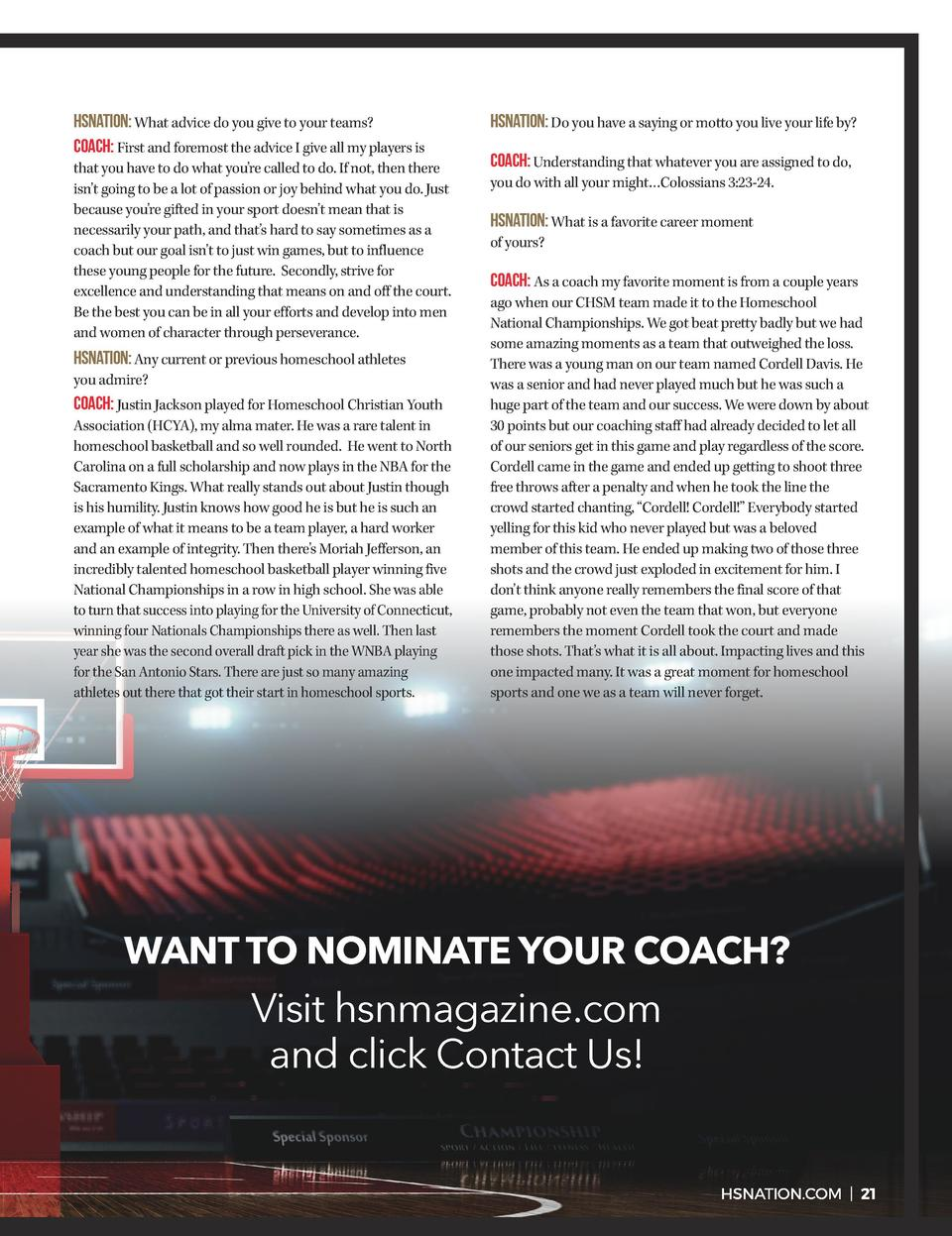 HSNATION  What advice do you give to your teams  Coach  First and foremost the advice I give all my players is that you ha...