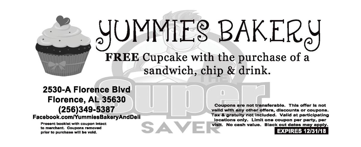YUMMIES   BAKER Y FREE   Cupcake   with   the   purchase   of   a    sandwich,   chip       drink.        2530-  A   Flore...