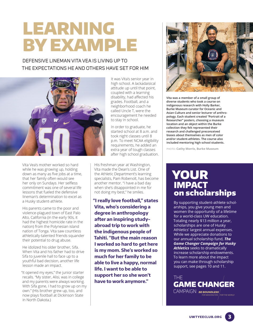 LEARNING BY EXAMPLE DEFENSIVE LINEMAN VITA VEA IS LIVING UP TO THE EXPECTATIONS HE AND OTHERS HAVE SET FOR HIM It was Vita...