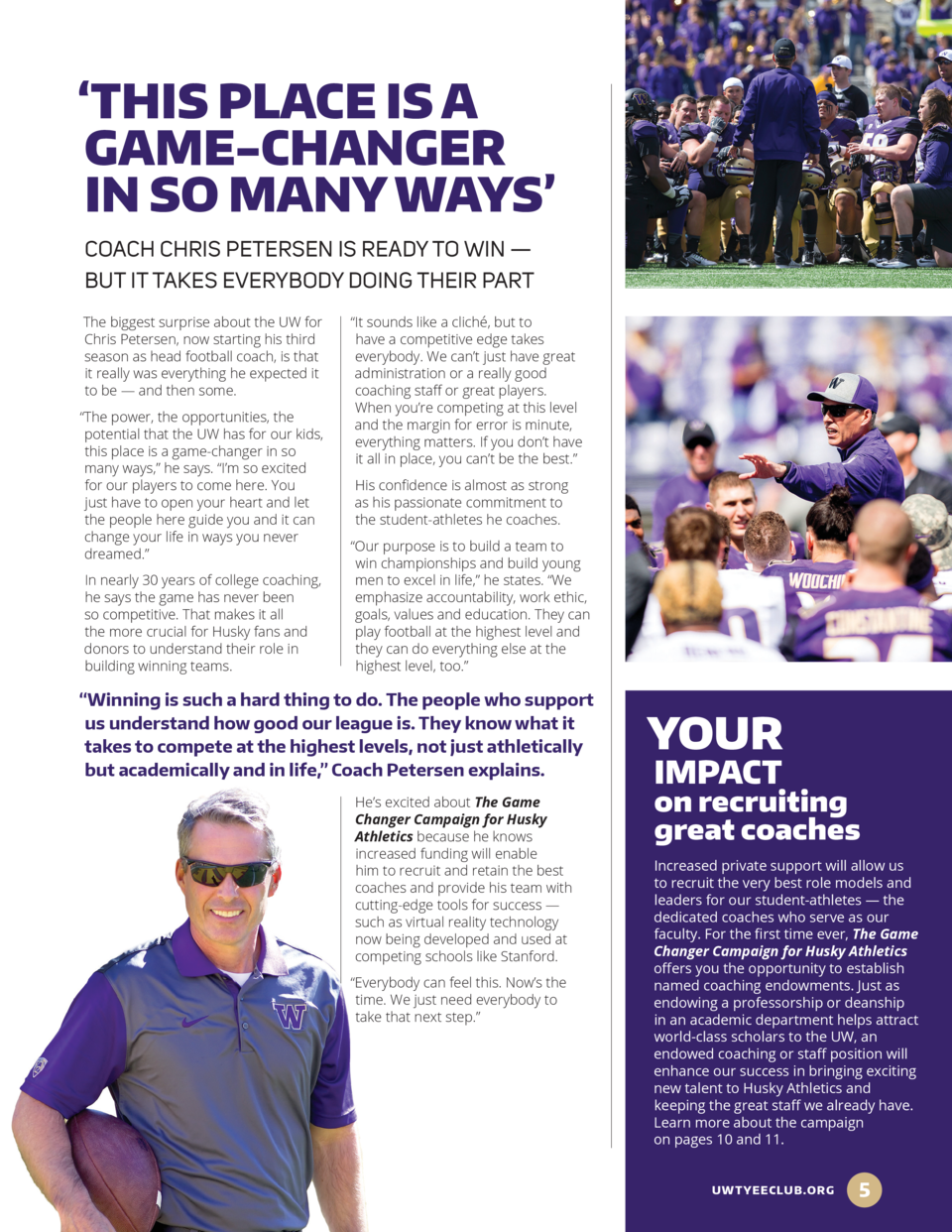 THIS PLACE IS A GAME-CHANGER IN SO MANY WAYS    COACH CHRIS PETERSEN IS READY TO WIN     BUT IT TAKES EVERYBODY DOING T...