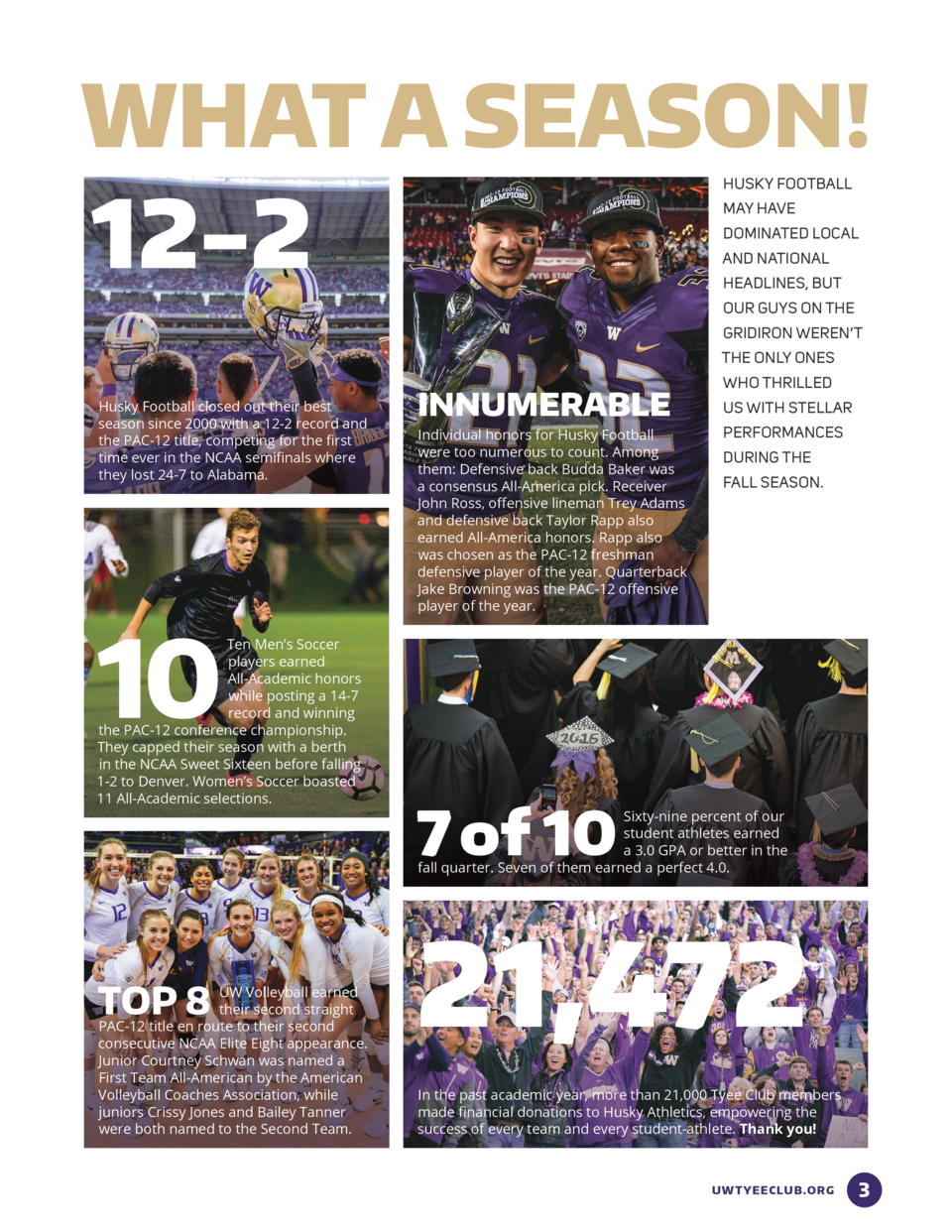 WHAT A SEASON   12-2  HUSKY FOOTBALL MAY HAVE DOMINATED LOCAL AND NATIONAL HEADLINES, BUT OUR GUYS ON THE GRIDIRON WEREN  ...