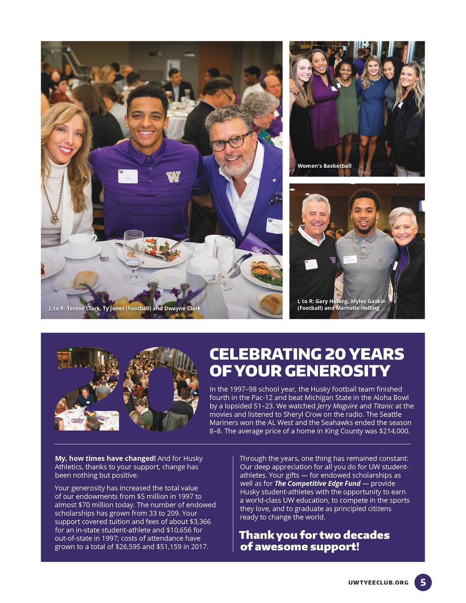 THE IMPACT OF SCHOLARSHIPS DONORS AND STUDENT-ATHLETES GATHER TO CELEBRATE 20 YEARS OF SUPPORTING STUDENT-ATHLETES    EDUC...