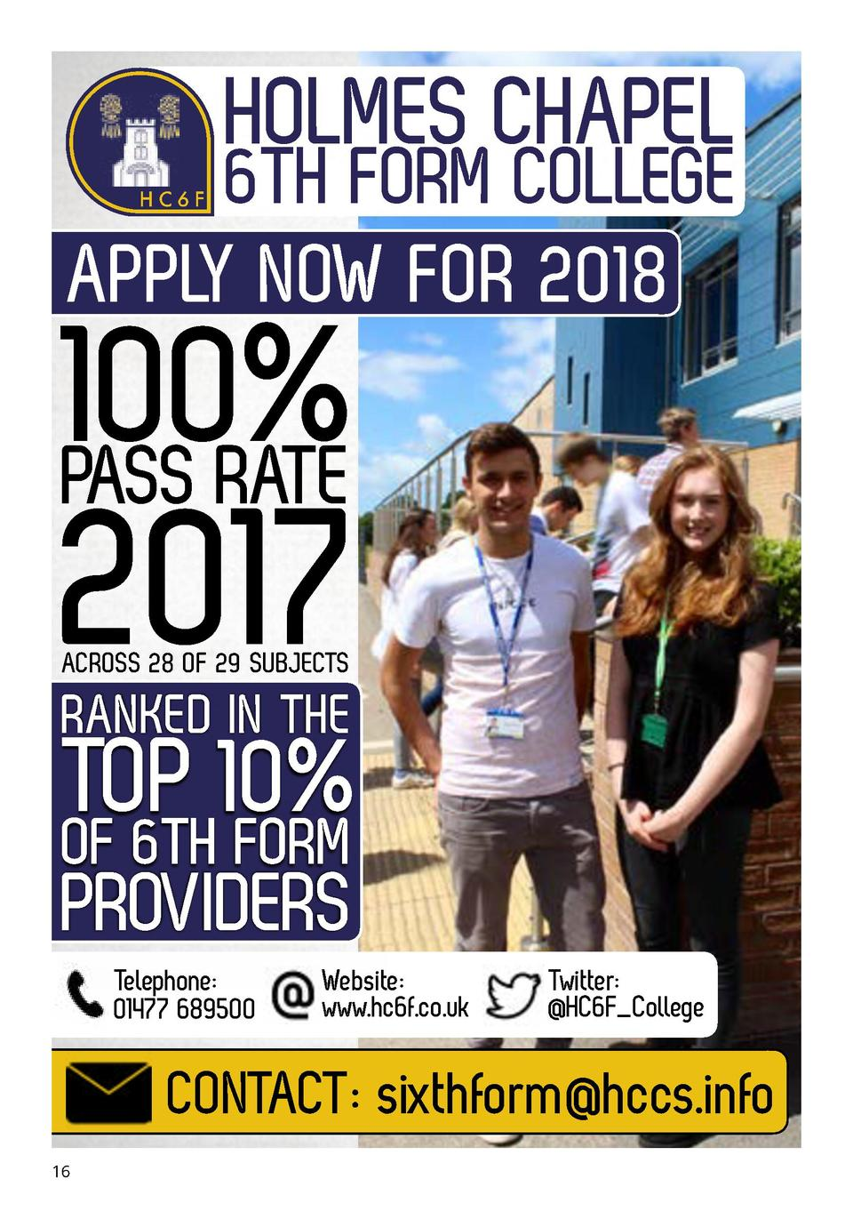 HOLMES CHAPEL  6TH FORM COLLEGE APPLY NOW FOR 2018 HC6F  100  PASS RATE  2017     ACROSS 28 OF 29 SUBJECTS  RANKED IN THE ...