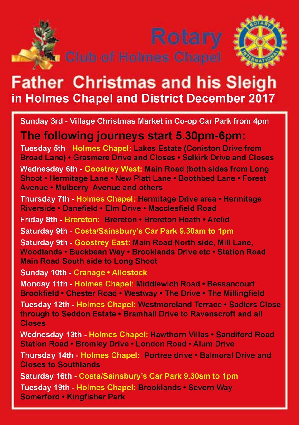 in Holmes Chapel and District December 2017 Sunday 3rd - Village Christmas Market in Co-op Car Park from 4pm  The followin...
