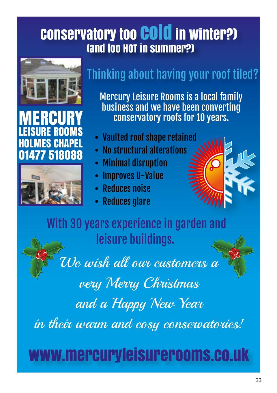 Conservatory too cold in winter    and too HOT in summer    Thinking about having your roof tiled   MERCURY  LEISURE ROOMS...