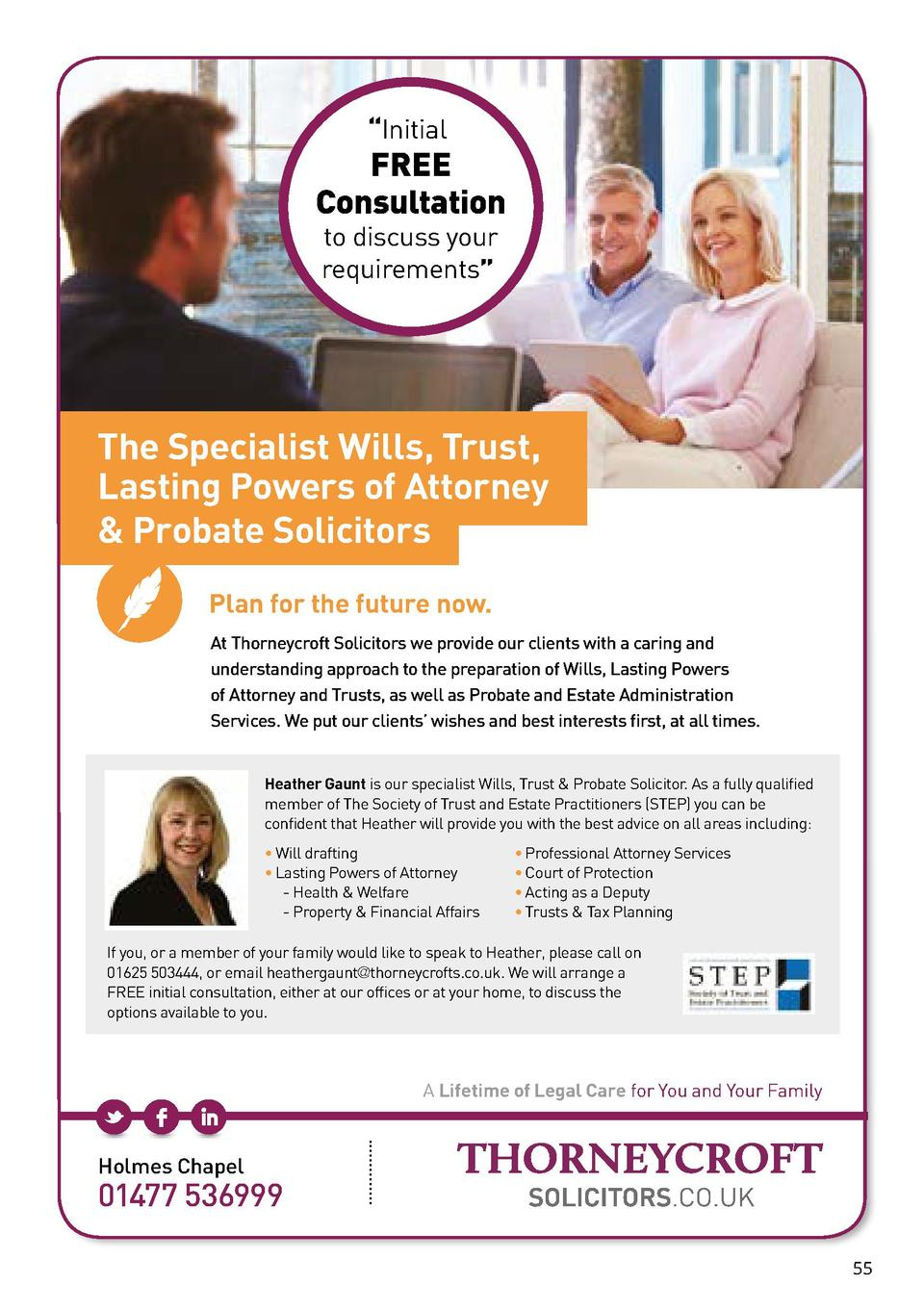 Initial  FREE Consultation to discuss your requirements     The Specialist Wills, Trust, Lasting Powers of Attorney   P...