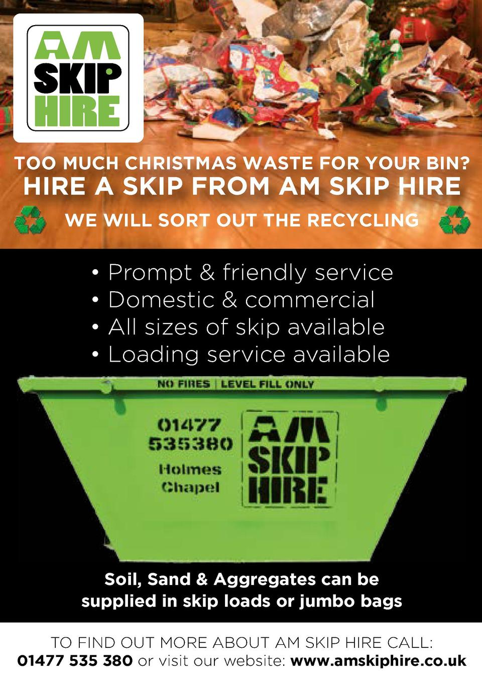 TOO MUCH CHRISTMAS WASTE FOR YOUR BIN   HIRE A SKIP FROM AM SKIP HIRE WE WILL SORT OUT THE RECYCLING                   Pro...