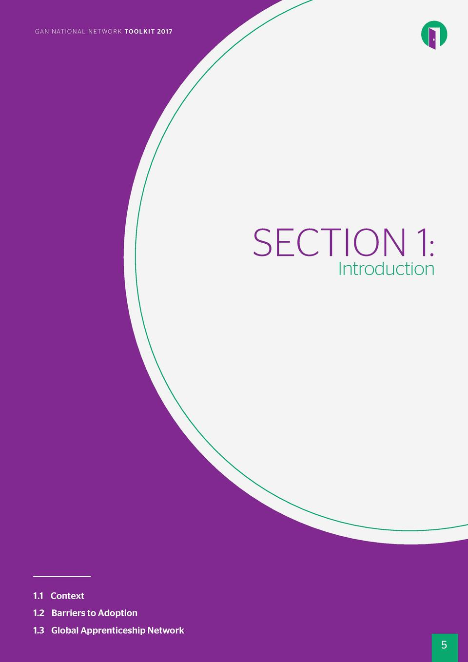 PGRAENFAC E I O N A L N E T W O R K TO O L K I T 20 17 N AT  SECTION 1  Introduction  1.1 Context 1.2 Barriers to Adoption...