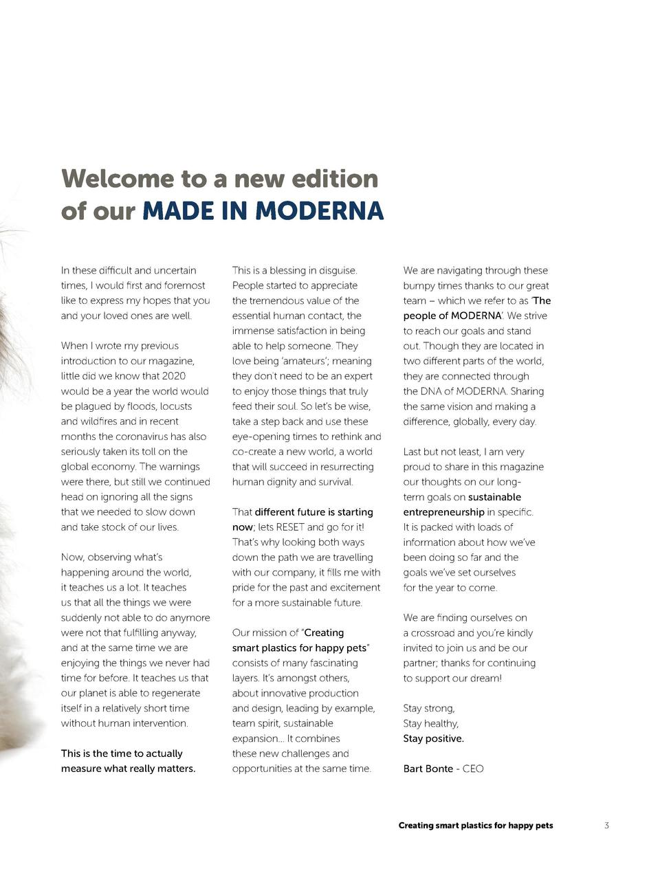 contents 4   We have you covered  6   Celebrating 5 years of MODERNA USA  9   PROUD of our corporate values  11   The peop...