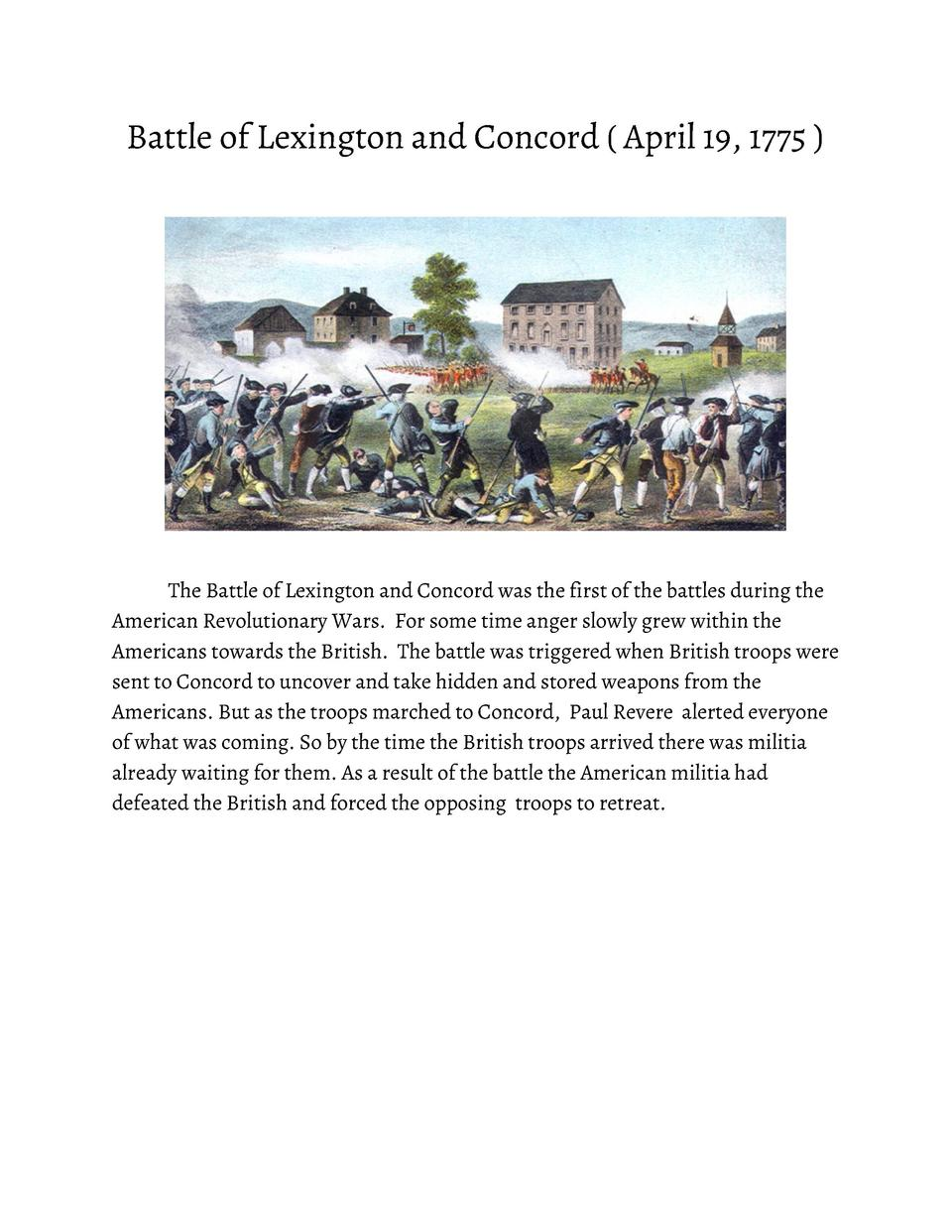 Battle       of       Lexington       and       Concord               April       19,       1775                       The...