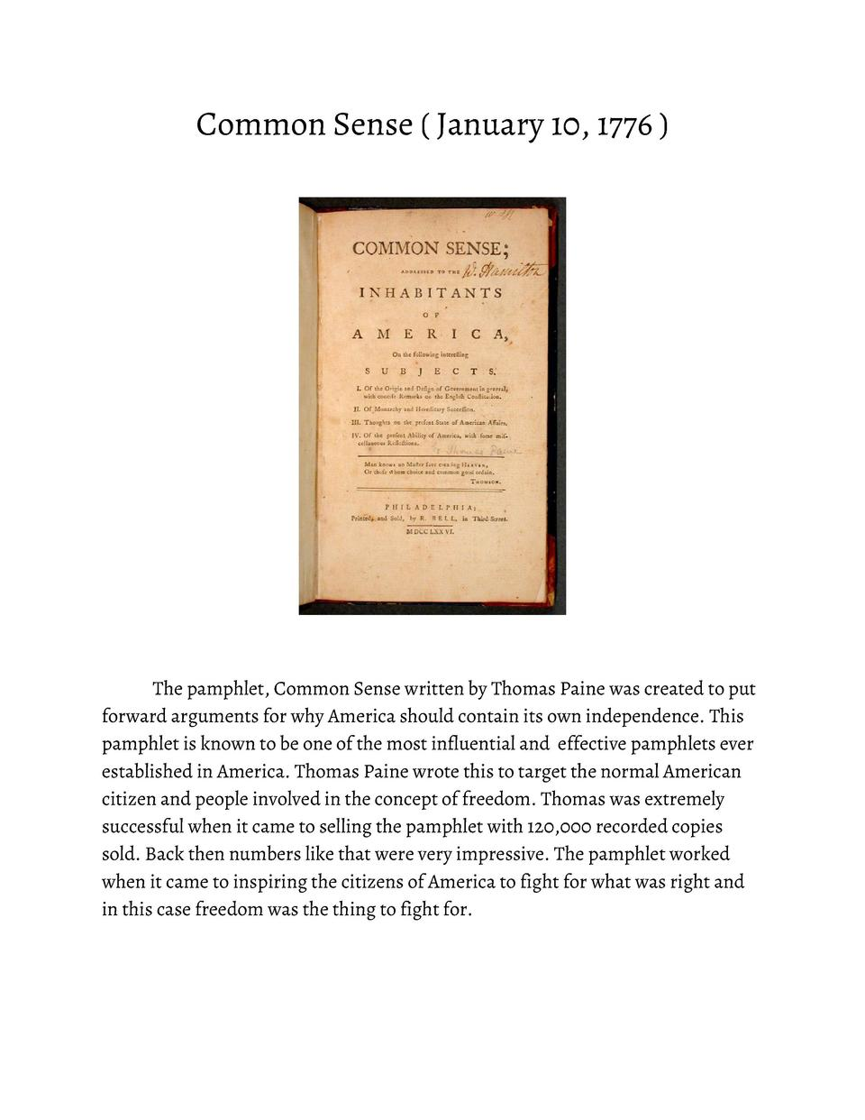 Common       Sense               January       10,       1776                        The       pamphlet,       Common     ...