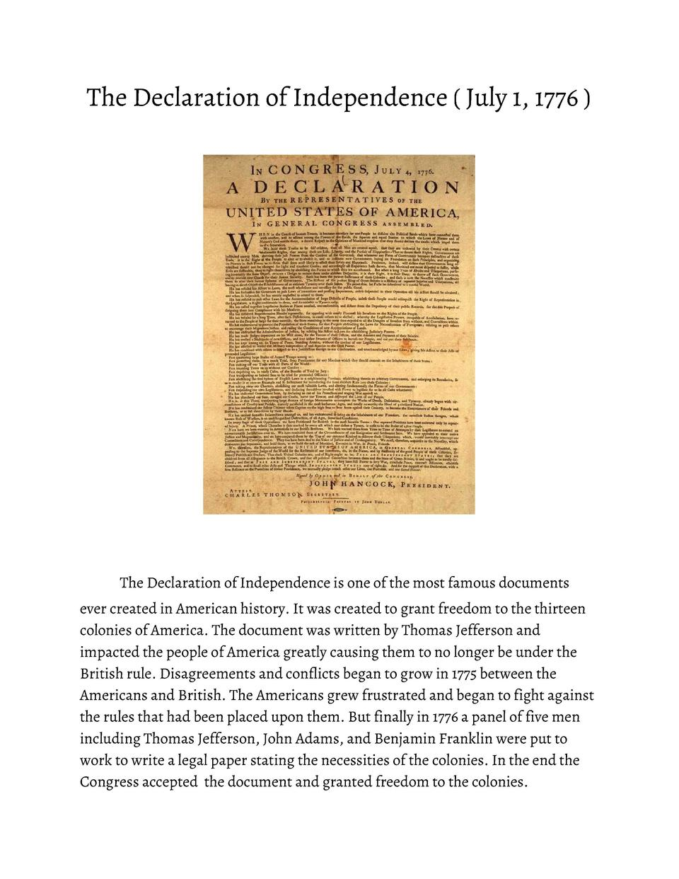 The       Declaration       of       Independence               July       1,       1776                     The       Dec...