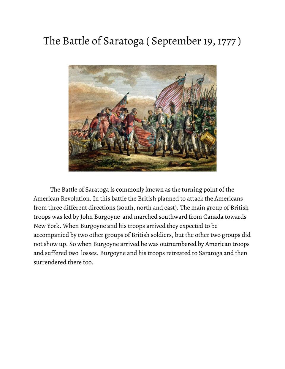 The       Battle       of       Saratoga               September       19,       1777                     The       Battle...