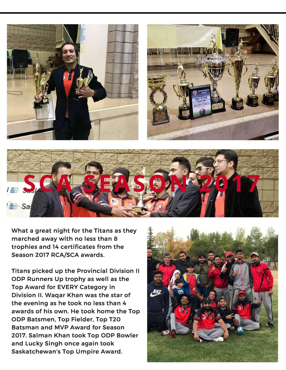 SCA SEASON 2017 What a great night for the Titans as they marched away with no less than 8 trophies and 14 certificates fr...