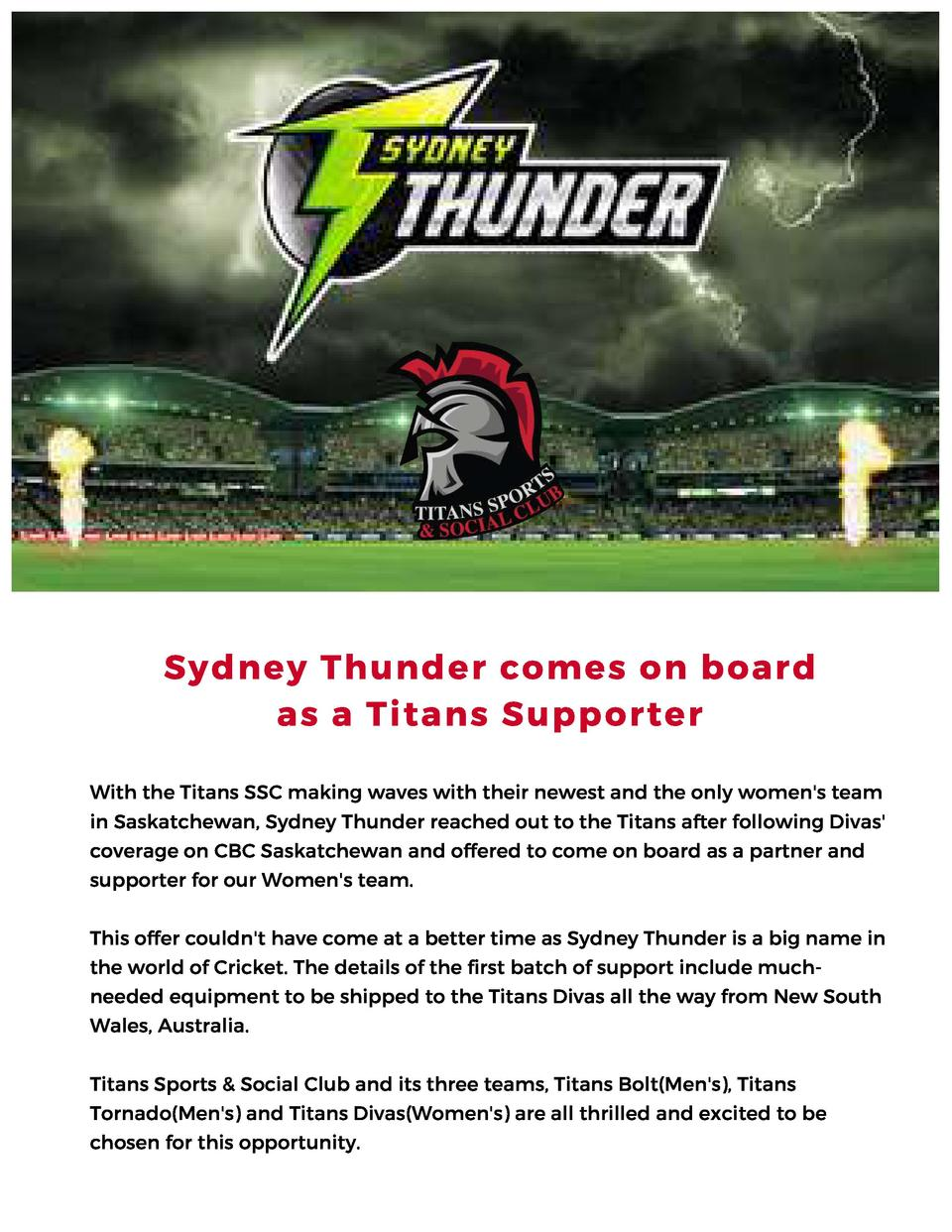 Sydney Thunder comes on board as a Titans Supporter With the Titans SSC making waves with their newest and the only women ...