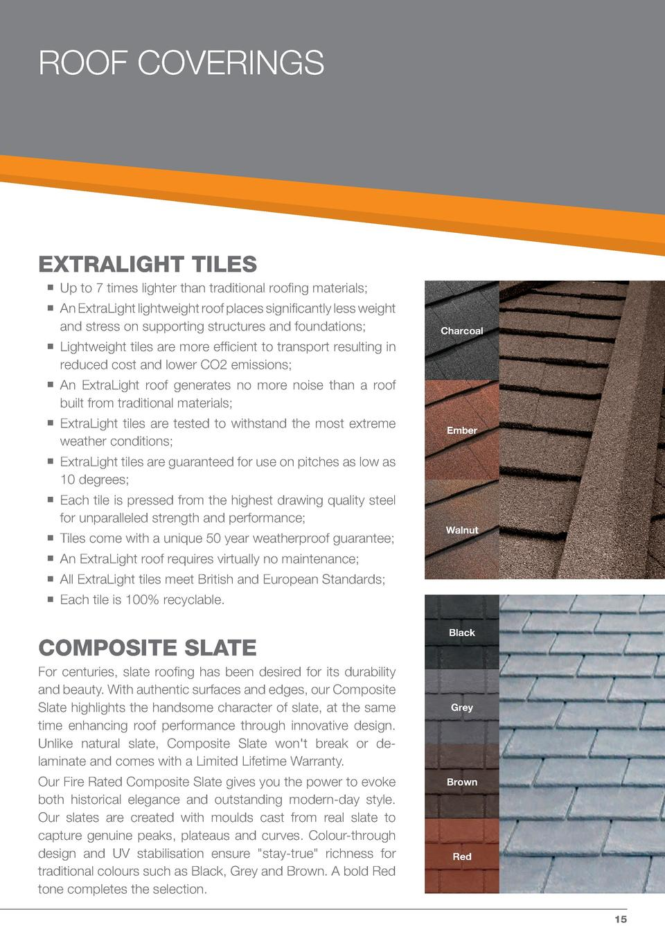 ROOF COVERINGS  EXTRALIGHT TILES                                     Up to 7 times lighter than traditional roofing materi...