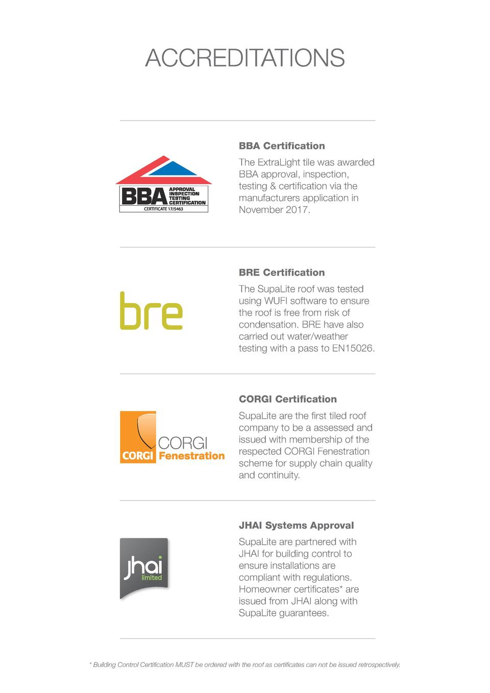 ACCREDITATIONS  BBA Certification The ExtraLight tile was awarded BBA approval, inspection, testing   certification via th...