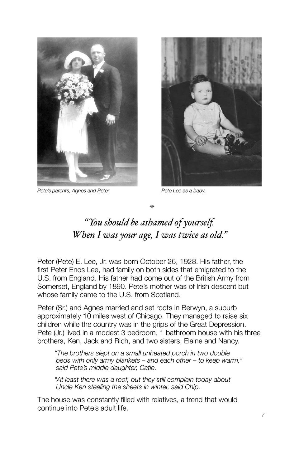 Pete   s parents, Agnes and Peter.             Pete Lee as a baby.       x     You should be ashamed of yourself. When I w...