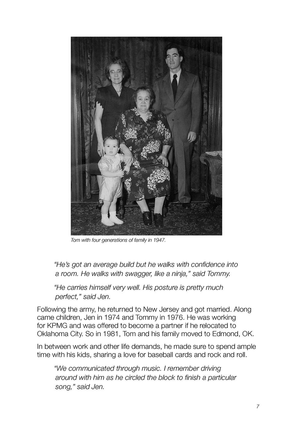 Tom with four generations of family in 1947.     He   s got an average build but he walks with confidence into a room. He ...