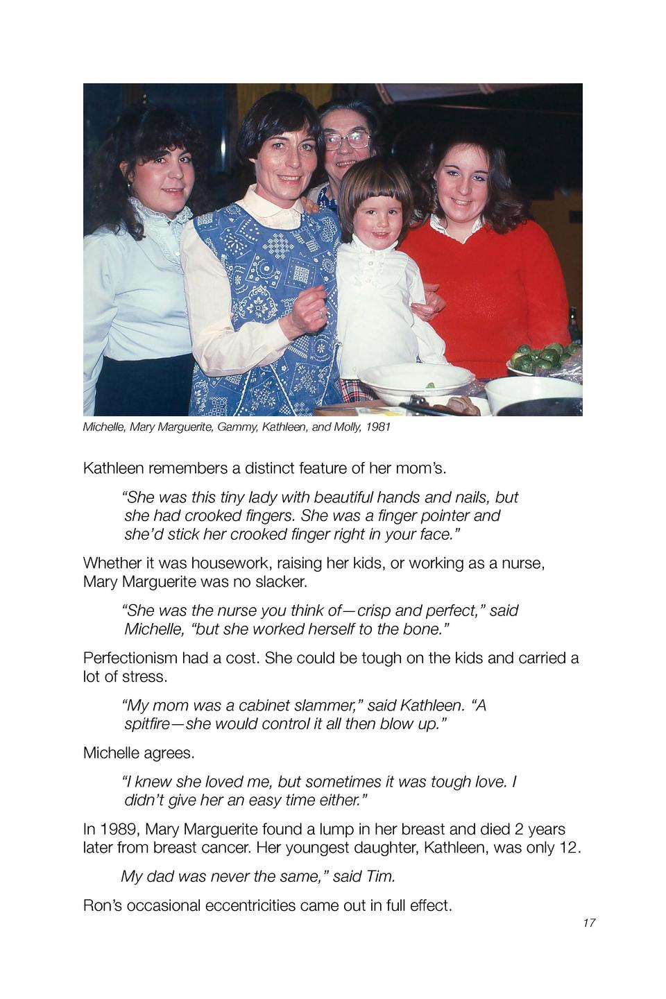 Michelle, Mary Marguerite, Gammy, Kathleen, and Molly, 1981  Kathleen remembers a distinct feature of her mom   s.    She ...