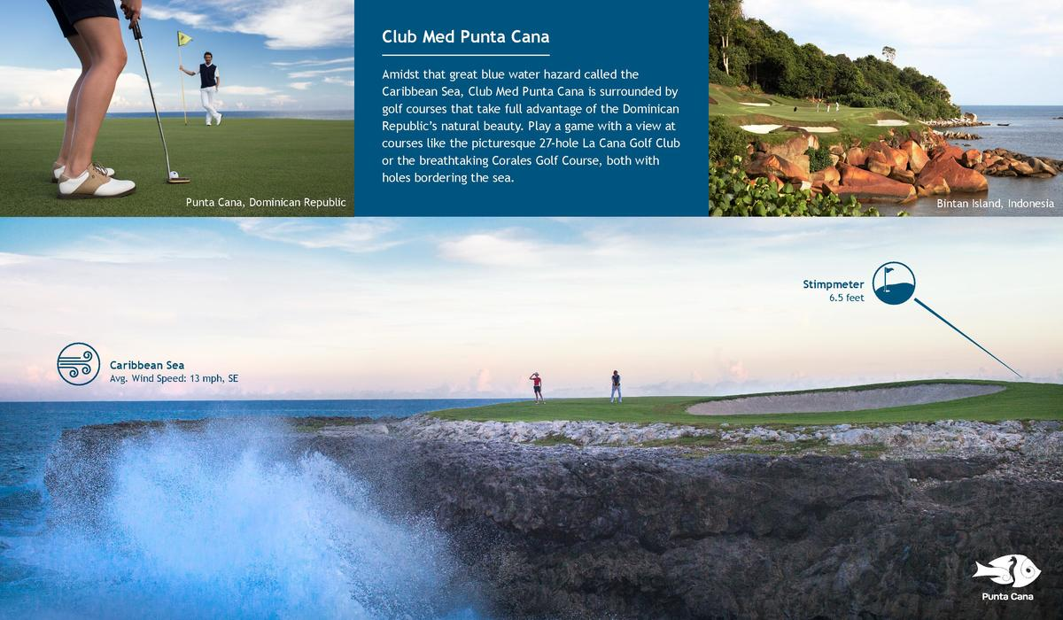 Club Med Punta Cana Amidst that great blue water hazard called the Caribbean Sea, Club Med Punta Cana is surrounded by gol...