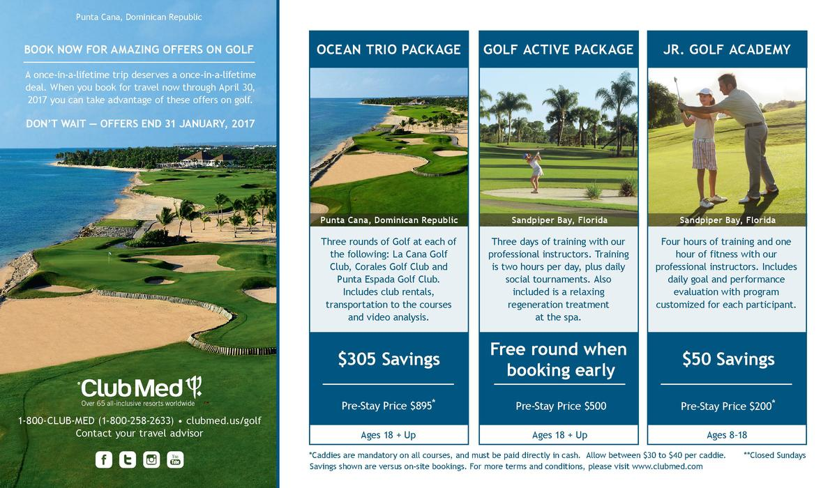 Punta Cana, Dominican Republic  BOOK NOW FOR AMAZING OFFERS ON GOLF  OCEAN TRIO PACKAGE  GOLF ACTIVE PACKAGE  JR. GOLF ACA...