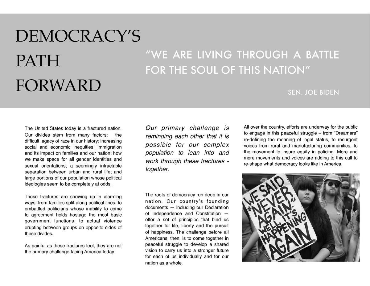 Democray's Path Forward Overview : simplebooklet com