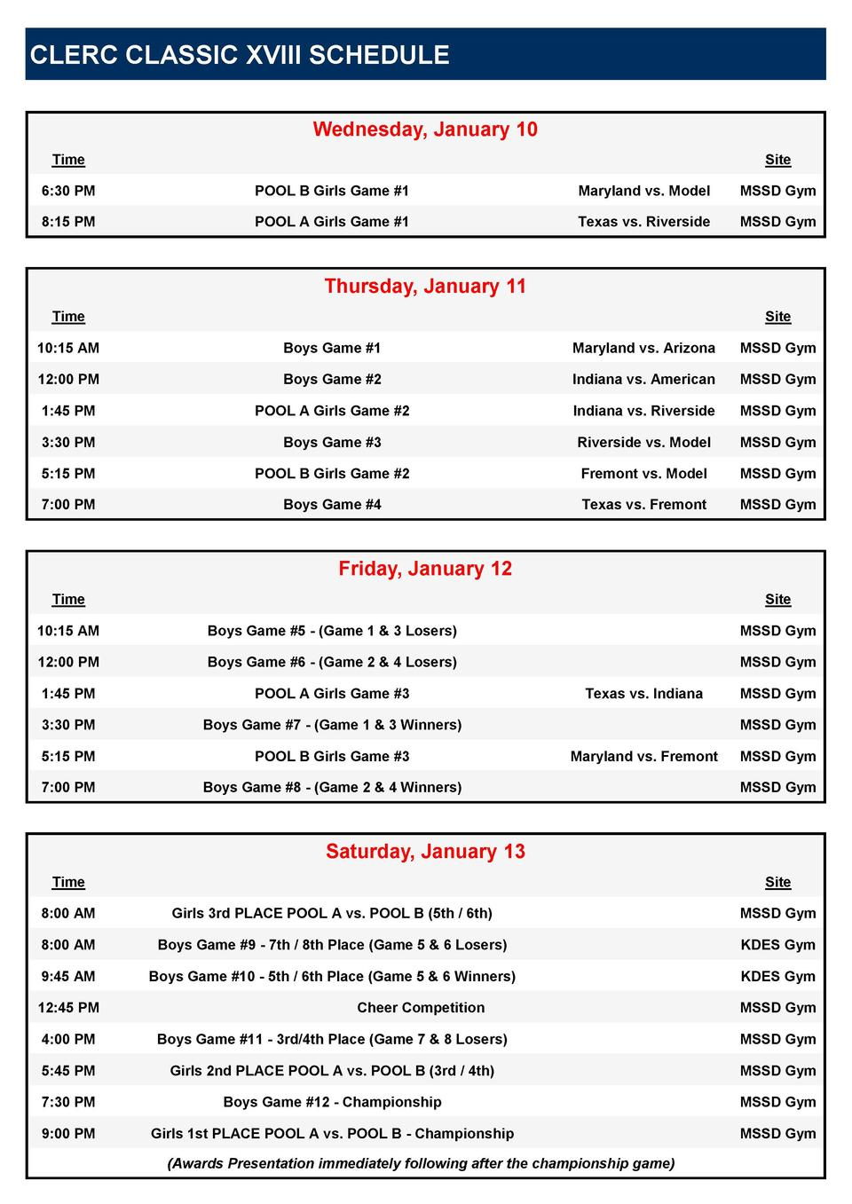 CLERC CLASSIC XVIII SCHEDULE Wednesday, January 10 Time  Site  6 30 PM  POOL B Girls Game  1  Maryland vs. Model  MSSD Gym...