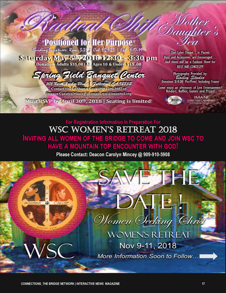 For Registration Information In Preparation For  WSC Women   S RetReat 2018 INVITING ALL WOMEN OF THE BRIDGE TO COME AND J...
