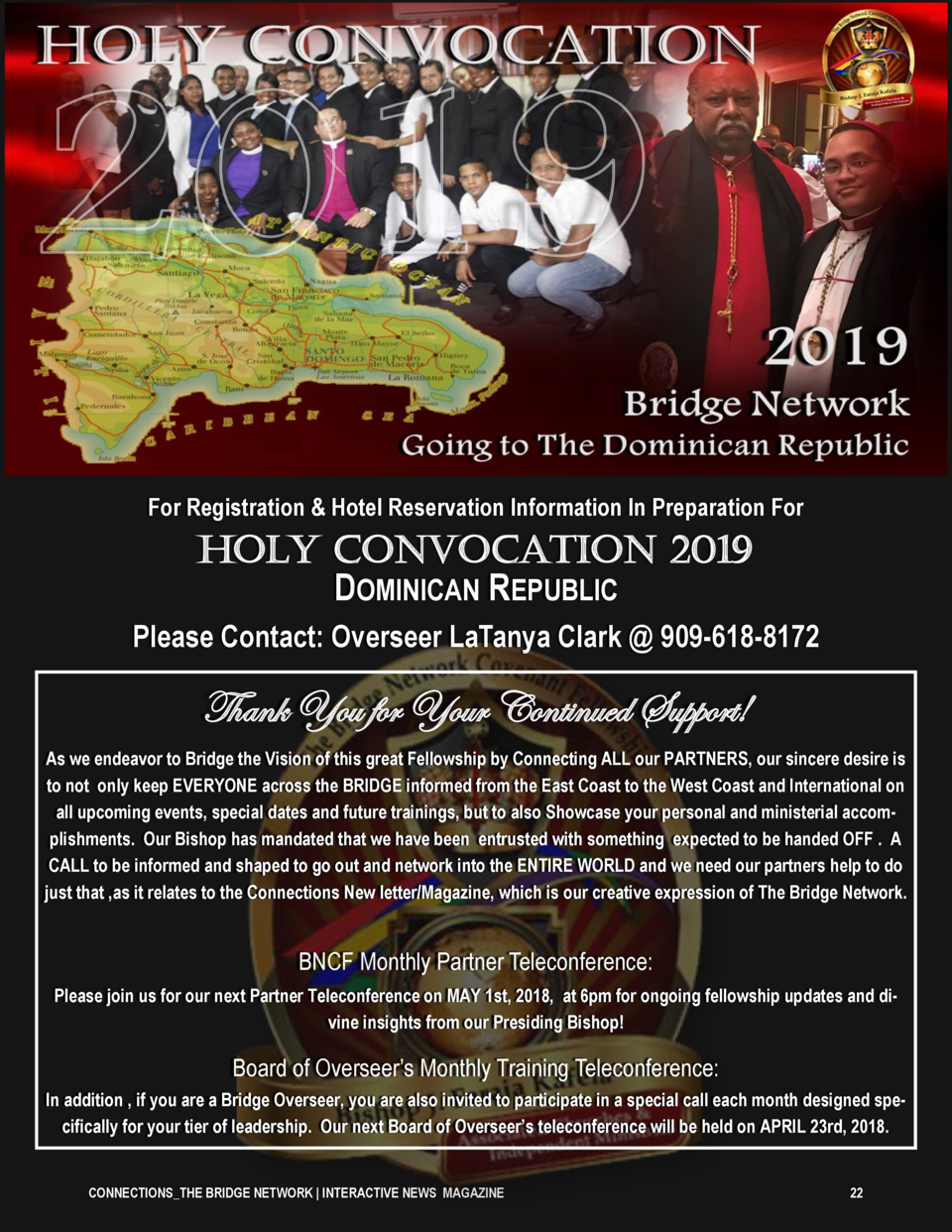 For Registration   Hotel Reservation Information In Preparation For  HOLY CONVOCATION 2019 DOMINICAN REPUBLIC Please Conta...