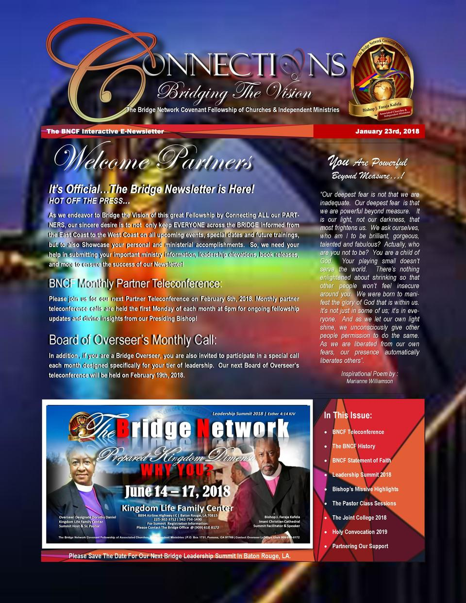 Bridging The Vision The Bridge Network Covenant Fellowship of Churches   Independent Ministries The BNCF Interactive E-New...