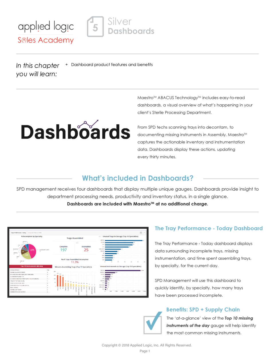 Silver  5 Dashboards In this chapter you will learn     Dashboard product features and benefits  MaestroTM ABACUS Technolo...