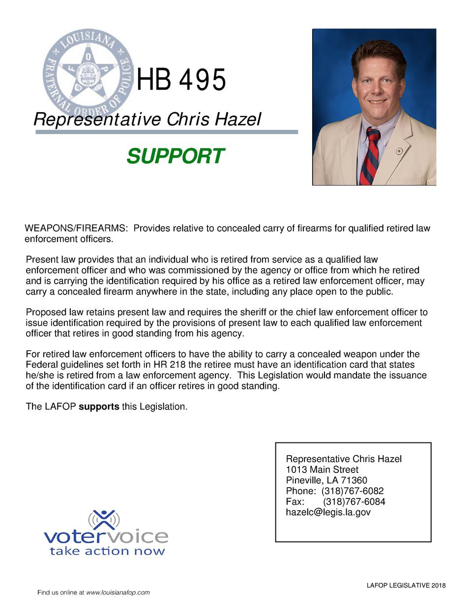 HB 495 Representative Chris Hazel  SUPPORT  WEAPONS FIREARMS  Provides relative to concealed carry of firearms for qualifi...